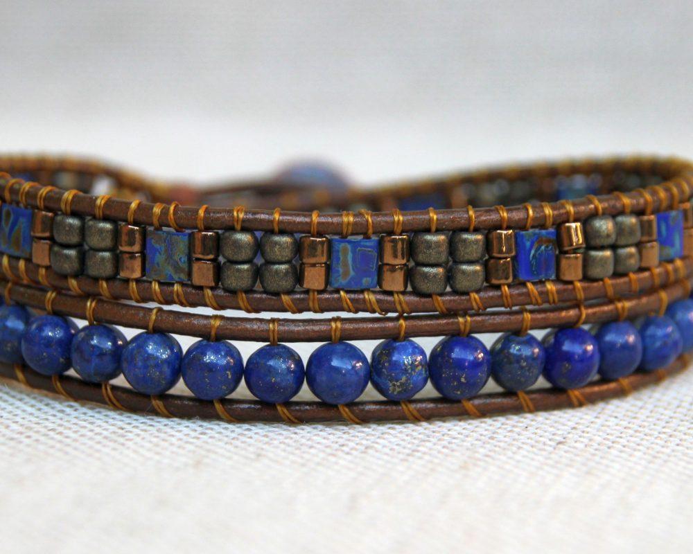 Bratara wrap laps lazuli si piele